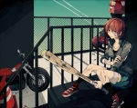 Konachan.com - 100441 bandage baseball_bat crying motorcycle orange_hair short_hair weapon