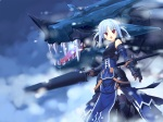 Konachan.com - 101091 blue_hair poco red_eyes weapon