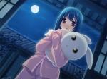 Konachan.com - 76055 blue_hair moon original pajamas red_eyes