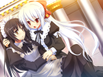 Konachan.com - 76136 black_hair blush brown_eyes game_cg kuon long_hair maid nimura_yuushi osananajimi_wa_daitouryou ponytail red_eyes ribbons white_hair