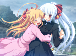 Konachan.com - 76143 2girls blonde_hair blush game_cg long_hair nimura_yuushi osananajimi_wa_daitouryou ouhama_yukino red_eyes ribbons white_hair