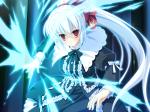 Konachan.com - 76148 dress game_cg irina_vladimirovna_putina long_hair magic nimura_yuushi osananajimi_wa_daitouryou ponytail red_eyes ribbons white_hair