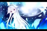 Konachan.com - 76396 headband moon purple_eyes sweater tagme white_hair