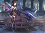 Konachan.com - 76604 black_hair elbow_gloves original red_eyes thighhighs wings