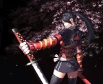 Konachan.com - 101770 armor black_hair brown_eyes cherry_blossoms katana kurumayama original red_eyes sword thighhighs weapon
