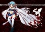 Konachan.com - 102614 blood blue_eyes blue_hair cape kyuubee mahou_shoujo_madoka_magica miki_sayaka panties sword tears thighhighs torn_clothes underwear weapon yuncha