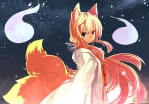 Konachan.com - 78661 animal_ears blonde_hair foxgirl kuya-san long_hair night orange_hair original sora_nin stars tail yellow_eyes yu-ves