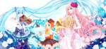 Konachan.com - 80706 blonde_hair blue_eyes blue_hair bow dress flowers hatsune_miku kagamine_rin long_hair megurine_luka petals pink_hair ribbons rose violin vocaloid