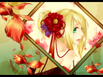 Konachan.com - 80776 fish green_eyes kagamine_rin vocaloid