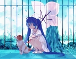 Konachan.com - 80793 amazawa_koma blue_eyes blue_hair dog dress hatsune_miku long_hair petals summer_dress umbrella vocaloid