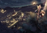 Konachan.com - 80960 animal_ears city landscape night scenic tagme tail
