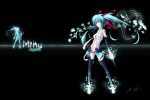 Konachan.com - 81156 aqua_eyes aqua_hair barefoot black miku_append signed thighhighs twintails vocaloid