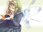 Konachan.com - 81608 food glasses green_eyes green_hair gumi seifuku vocaloid