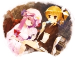 Konachan.com - 81811 2girls chinchickrin hat japanese_clothes kirisame_marisa patchouli_knowledge popsicle touhou