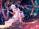 Konachan.com - 82051 blue_hair dress flowers hat kieta petals red_eyes remilia_scarlet touhou