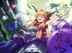Konachan.com - 82426 chain dress fang horns ibuki_suika moon ryosios touhou