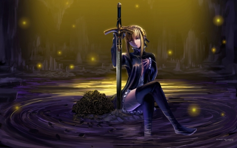 Konachan.com - 117630 fate_stay_night flowers maisaki rose saber saber_alter sword weapon