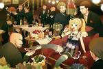 Konachan.com - 77190 ame blonde_hair dress flat_chest food green_eyes loli original tagme thighhighs twintails
