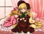 Konachan.com - 77530 bed blonde_hair blue_eyes bow green_eyes hina_ichigo kunkun long_hair rozen_maiden shinku