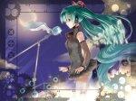 Konachan.com - 81783 hatsune_miku long_hair microphone moon pikazo vocaloid