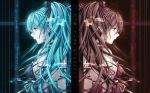 Konachan.com - 82136 aqua_eyes hatsune_miku long_hair red_eyes ribbons tidsean twintails vocaloid zatsune_miku