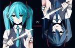 Konachan.com - 82137 blue hatsune_miku headphones knife petrushka tie twintails vocaloid weapon