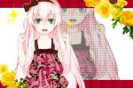 Konachan.com - 82153 aqua_eyes dress flowers megurine_luka pink_hair vocaloid