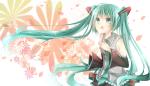 Konachan.com - 82174 aqua_hair hatsune_miku kishi_naon petals twintails vocaloid