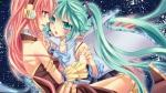 Konachan.com - 82322 2girls dress hatsune_miku headphones megurine_luka space stars vocaloid yayoi
