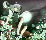 Konachan.com - 84268 dress flowers gray_hair green_eyes konpaku_youmu ribbons rikkunia short_hair sword touhou weapon