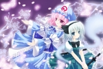 Konachan.com - 84416 blue_eyes butterfly dress hat konitan konpaku_youmu petals pink_hair purple_eyes saigyouji_yuyuko sword touhou weapon white_hair