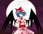 Konachan.com - 84671 hat kitsune_no_jinja moon night red_eyes remilia_scarlet touhou wings