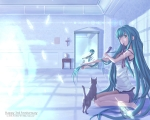 Konachan.com - 83000 angel cat feathers hatsune_miku violin vocaloid wings