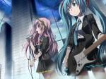 Konachan.com - 83838 gochou_(comedia80) guitar hatsune_miku megurine_luka microphone twintails vocaloid