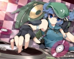 Konachan.com - 85374 blue_eyes blue_hair gloves hat headphones jungetsu_hoko kawashiro_nitori touhou twintails