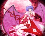Konachan.com - 85548 blue_hair dress hat moon remilia_scarlet touhou weapon wings