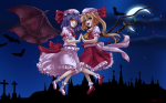 Konachan.com - 85905 asu_hare bat blonde_hair blood dress hat moon night photoshop ponytail purple_hair red_eyes remilia_scarlet short_hair signed touhou wings