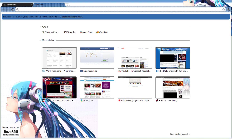 Google themes hatsune miku - Skin