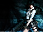 Konachan.com - 104369 3d black_hair devil_may_cry green_eyes lady realistic red_eyes weapon