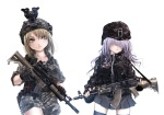 Konachan.com - 104642 2girls gun hat skirt terabyte thighhighs weapon white