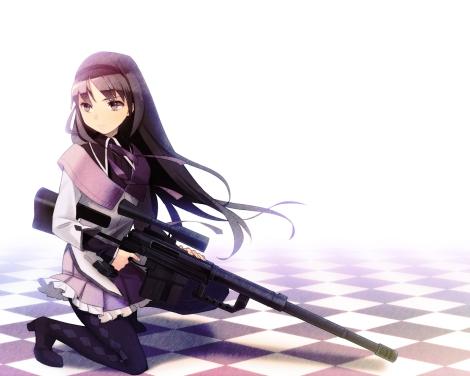 Konachan.com - 121762 akemi_homura black_hair gun kotetu mahou_shoujo_madoka_magica pantyhose weapon