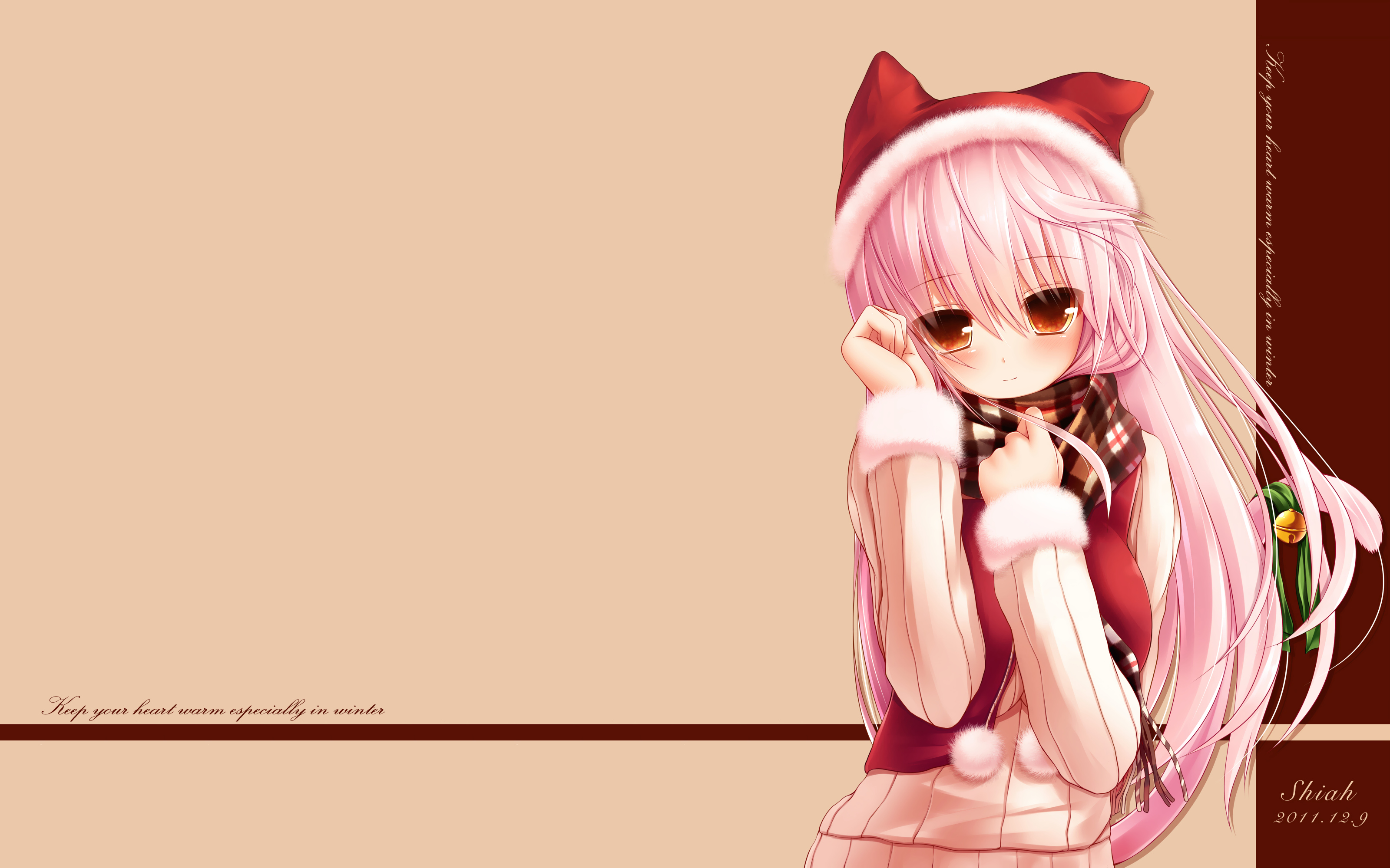 Christmas pictures Konachan-com-122103-animal_ears-catgirl-hat-long_hair-original-photoshop-pink_hair-red_eyes-scarf-shia_syroh-syroh-tail