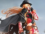 Konachan.com - 97345 blonde_hair cape donne_anonime gloves gun hat instrument long_hair nitroplus niθ orange_eyes tre_donne_crudeli weapon