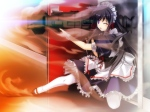 Konachan.com - 97578 black_hair bloody_rondo game_cg kamizu_sayaka long_hair maid purple_eyes sakaki_maki weapon