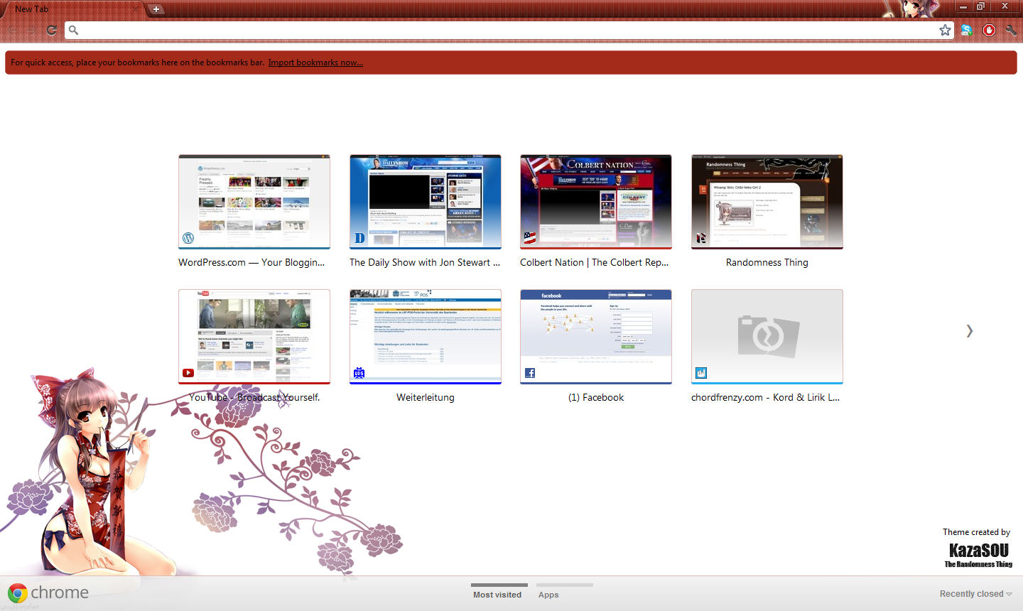 Google Chrome Theme: Hakurei Reimu | Randomness Thing