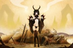 Konachan.com - 111924 black_hair demon dragon original panties patipat_asavasena red_eyes thighhighs underwear weapon