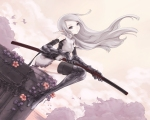 Konachan.com - 112223 armor elbow_gloves elf gray_eyes gray_hair katana long_hair sword thighhighs weapon