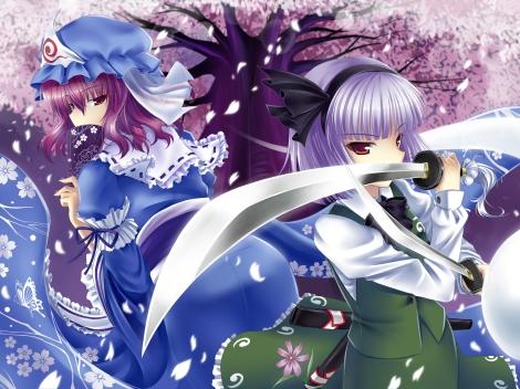 Konachan.com - 87212 dress hat konpaku_youmu okitakung petals saigyouji_yuyuko sword touhou weapon