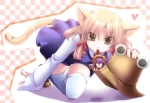 Konachan.com - 87415 animal_ears blonde_hair chibi hat moriya_suwako purple_hair shinolion tail thighhighs touhou yasaka_kanako