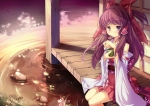 Konachan.com - 87582 bow brown_eyes brown_hair hakurei_reimu japanese_clothes long_hair signed spirtie touhou water